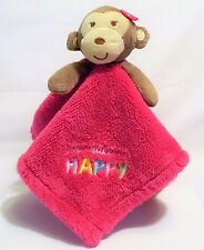 Baby Gear Pink Brown Monkey You Make Me Happy Lovey Plush Security Blanket 15x15