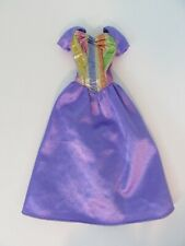 Vintage Barbie Doll Clothes - NYLON LONG GOWN - Purple with Brocade - Pink Tag