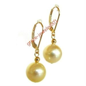 PERFECT AAA 10-11mm natural south sea gold yellow pearl earrings 14K gold