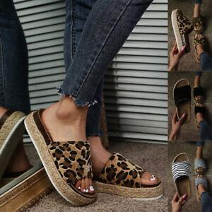 Damen Sandalen Plateau Pantoletten Korkoptik Sommer Schlappen Hausschuhe Schuhe