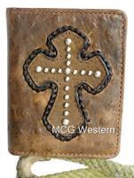Nocona Western Mens Wallet Bifold Leather Ostrich Cross Whiskey N5460202