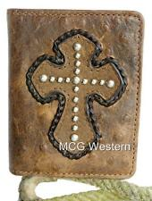 Nocona Western Mens Wallet Bifold Leather Ostrich Cross Whiskey N5460202