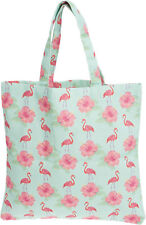 Cute TIKI Hibiscus FLAMINGO Tropical Canvas SHOPPER Tasche Rockabilly