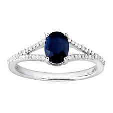 1 Ct Natural Kanchanaburi Sapphire & 1/8 Ct Diamond Ring in 10k White Gold