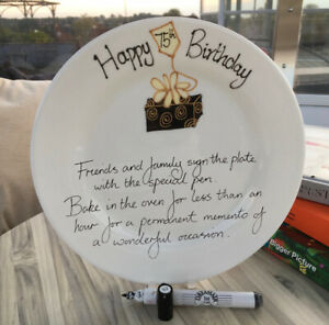 75th Birthday Box Write Your Own Message Gift Plate: (Round) (BOX)