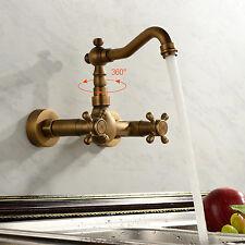 New Antique Widespread Bathroom Sink Faucet Antique Brass Dual Handles Mixer Tap