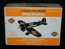 HARLEY DAVIDSON ** 1929 ** AIRPLANE BANK ** TRAVEL AIR ** DIE CAST ** LE ** NEW*