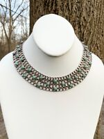 Vintage Mexican Sterling Silver Collar Necklace Turquoise Taxco Choker