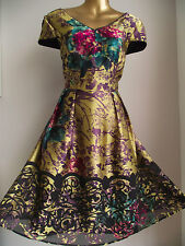 OPULENT MONSOON GOLD BLACK PURPLE PINK TEAL 50's PROM FLORAL BAROQUE DRESS 16