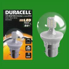 2x 3.5W (=25W) Dimmable Duracell LED Clear Mini Globe Light Bulb BC B22 Lamp