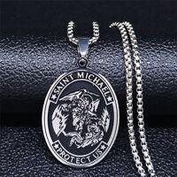 Archangel Saint Michael Catholic Patron Protect Us Pray Medal Pendant Necklace