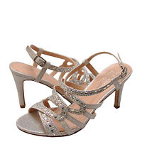 Details about  /Blossom Yael 09  Silver Women/'s Embellished Peep Toe Lace