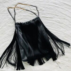 Zara Vegan Leather Purse Bag Large Fringe Black Chain Silver Gold