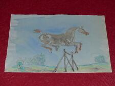 [EQUITATION CHEVAUX HORSES] DESSIN ORIGINAL ANCIEN AQUARELLE water color (34)