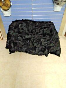 Luxury Black Toscana Fur Throw Real Fur Blanket - Bedspread Fur Rug