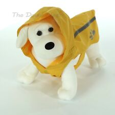 TOP PAW Outdoor X-SMALL Hooded YELLOW DOG RAINCOAT Grey REFLECTIVE Stripe & Paws