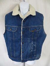 Vintage Roebucks Western Wear Mens Size 42R Blue Jean Denim Vest Sherpa Lined