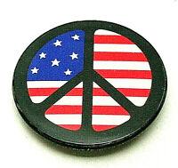 Anti War US Flag Peace Sign Symbol 1970s Button Pin NOS New Original