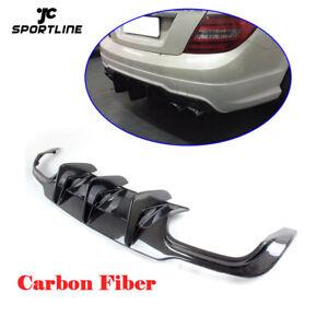 For Benz W204 C300 C63 AMG 12-15 Rear Bumper Lip Diffuser Spoiler Carbon Fiber