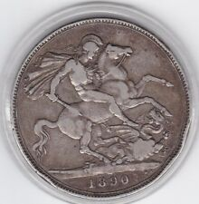 1890   Jubilee  Head  Large  Crown / Five Shilling  Coin