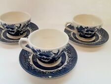 Churchill England Blue Willow Coffee Mug Tea Cup And Saucer Sets (3)*Has Chip