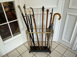 ANTIQUE FRENCH UMBRELLA & WALKING STICK STAND BRASS WITH CAST IRON BASE C.1850