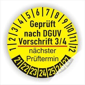 Prüfplaketten DGUV Vorschrift 3, 2021-27 Prüfetiketten Prüfaufkleber Ø 20-50 mm