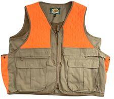 Cabelas Men Upland Hunting Vest Game Pouch Pockets Tan Blaze Orange Duck Size XL