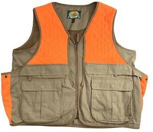 Cabelas Hunting Vest Men Upland Game Pouch Pockets Tan Blaze Orange Duck Size XL