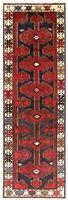 "Hand Knotted Navy Red Ivory Tribal Wool Hamedan Runner Oriental Rug 3'3"" x 9'8"""
