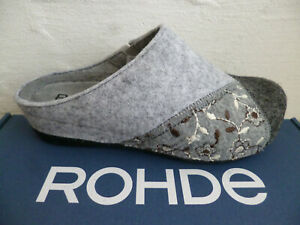 Rohde Ladies Slippers House Shoe Slippers Clogs Felt Gray New