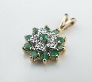 "10k Gold 1/3 carat Natural Diamond Emerald Halo Pendant 2/3"" NR Free Ship PG1397"