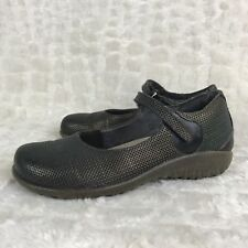 Naot Women Sz 35 ( US 4 ) Brown Green Metallic Mary Jane Shoes Casual Textured