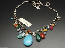 Fossil Stone Necklace Goldtone Grey Leather Multi Tone Charms Multicolor New!
