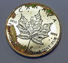 {BJStamps} 1988 Canada $5 Maple Leaf Fall Foliage  toning 1 ozt .999  SILVER