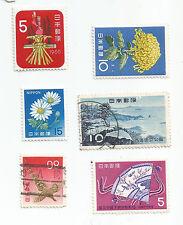 Japón; Lote De 6 diferentes; flores, aves, vistas, menta y utilizado *
