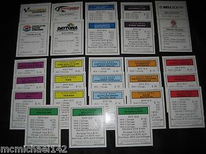 Monopoly NASCAR Property Deed replacement parts crafts scrapbooking COMPLETE SET