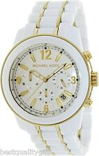 MICHAEL KORS PRESTON WHITE ACRYLIC+GOLD TONE CHRONO,TACHYMETER,DATE WATCH-MK5804