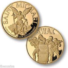 SAINT MICHAEL POLICE FBI  SWAT TEAM GOLD 4 MAN USA MADE   CHALLENGE COIN
