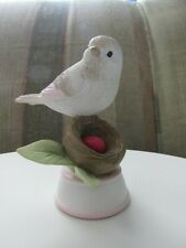 Bird figurine for a July birthday with red egg. New July birthstone - Ruby