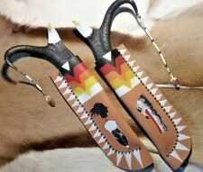 EAGLE ANTELOPE ANTLER KNIFE AND SHEATH SET BY NATIVE AMERICAN BUDDY PARAZOO
