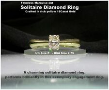 Marquise Natural Yellow Gold Fine Diamond Rings