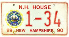 1989-1990 New Hampshire HOUSE OF REPRESENTATIVES License Plate #1-34