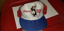 Vintage Hamm's Bear Heavy Hitter Beer Snapback Truckers Hat Rare Red White Blue