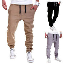 Drawstring Solid Sporty Long Pants For Men - Khaki