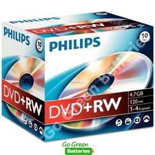 10x Philips DVD+RW Blank Rewritable Discs 4.7GB 120 Mins 1-4x Speed Plastic Case