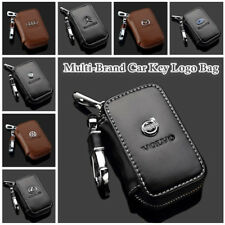 Multi-Brand Genuine Cow Leather Zip Men Women Car Key Bag Chain Ring Holder Case