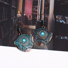 Vintage Carved Copper Turquoise Drop Dangle Ethnic Gypsy Women Charm Earrings