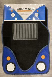 Universal  Carpet Car Mat Set 4pc Black/blue Heavy Duty Non Slip Floor Mats