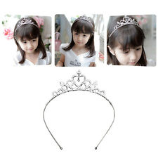Kids Girls Rhinestone Tiara Hair Band Bridal Princess Prom Heart Crown Headband